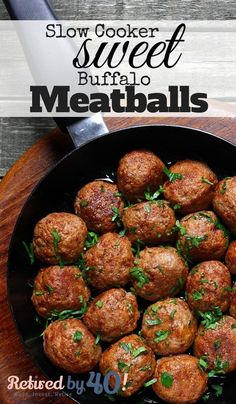 Slow Cooker Sweet Buffalo Meatballs are s sweet and spicy crockpot meatball recipe that takes about 3 minutes to throw together - and is a guaranteed crowd-pleaser! http://www.retiredby40blog.com/recipe/sunday-funday-slow-cooker-sweet-buffalo-meatballs/