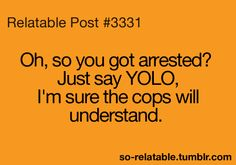 Oh, so you got arrested? Just say YOLO, I'm sure the cops will understand