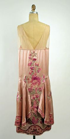 Embroidered pink silk satin evening dress with chiffon yoke (front), by Callot Soeurs, French, 1925-26
