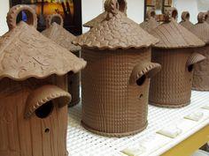 Cool birdhouses - stamped design on slab
