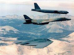 Boeing B-52 Stratofortress flies alongside a Rockwell B-1 Lancer & Northrop B-2 Spirit.