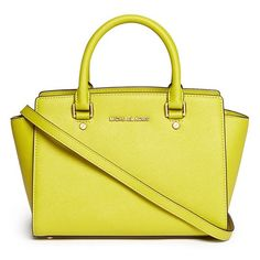 Michael Michael Kors 'Selma' medium saffiano leather satchel ($455) ❤ liked on Polyvore featuring bags, handbags, accessories, yellow, yellow satchel, saffiano leather satchel, yellow bag, michael michael kors bags and satchel bag