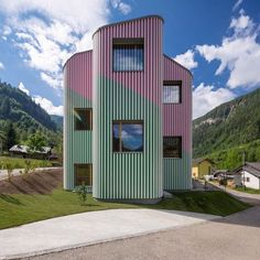 The signature stripes of artist Daniel Buren cover the curved walls of this timber-framed house by architect Davide Macullo which functions as a piece of public art in a picturesque Swiss valley.  Read more on http://ift.tt/1RayTxi  #architecture #Switzerland #stripes  Photograph by @alexandrezveigerphoto  - Architecture and Home Decor - Bedroom - Bathroom - Kitchen And Living Room Interior Design Decorating Ideas - #architecture #design #interiordesign #homedesign #architect #architectural…