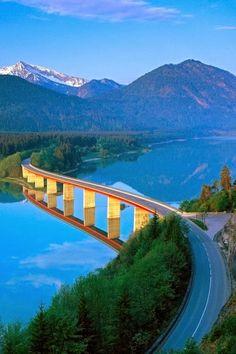 Lake Sylvenstein, a reservoir in Bavaria, Germany