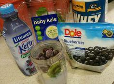 Karli Giustozzi Karavokiros Heres a great easy smoothie to share with fellow Bodyrockers. Blueberry Kefir, whey protein, kiwi, kale, frozen blueberries enjoy!