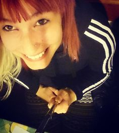 「 #selfie #selfiestick #fun #friends #redhair #nomakeup #adidas #casual #greathairday #smile #browneyes #heštegbySara 」