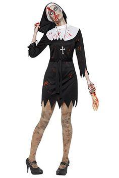 Damen Erwachsene Kostüm Halloween Party Zombie Blutiges Mary Nun Schwester Kostüm - Schwarz, Bekleidung karneval kostüm gruppe kostüm karneval verkleidung fasching basteln faschingskostüm bekleidung mode