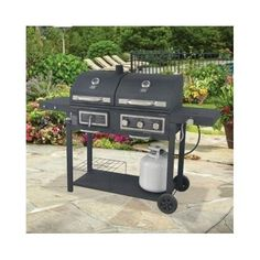 Durable Outdoor Barbeque & Burger Gas/charcoal Grill Combo Comes with a Chrome Plated Warming Rack and a Porcelain Heat Grill with Integrated Ignition and Also Has a Handy Tool Holders Propane Gas Grill, Gas Bbq, Barbecue Grill, Grilling, Backyard Shade, Backyard Bbq, Patio, Wedding Backyard, Backyard Ideas