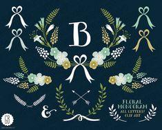 Floral wreaths, monogram, laurels, ribbons, clip art, vector, muscari, grape hyacinth, folk flowers, birthday card, party stationery, cards