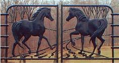 wrought iron gate art horses - Google Search