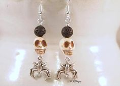 Steampunk skull earrings. These would be great for Halloween or any time of the…