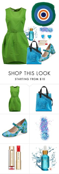 """lovely green"" by tato-eleni ❤ liked on Polyvore featuring Oscar de la Renta, Kenzo, Prada, In Your Dreams, Estée Lauder and Bling Jewelry"