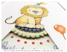 Circus Lion UNFRAMED Children's Art Bright Color Print Large Prints, Framed Prints, Animal Doodles, Collage, Fun Fair, Circus Theme, Color Print, Nursery Themes, Giclee Print