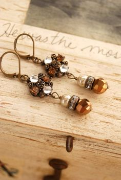 Janie. copperpearlrhinestone drop earrings. by tiedupmemories