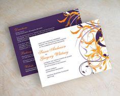 Purple and orange wedding invitations, wedding invitation cards, personalised wedding invitations, Lania