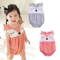 Cartoon Baby Boy Girls Infant Fox Romper Jumpsuit Sleeveelss Summer Outfit 0-24M  2016 Newest Fashion