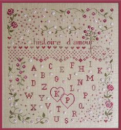 """Wedding cross stitch pattern """"Historie d'amour - Love Story"""" from Marie Suarez (includes French counted cross stitch pattern)"""