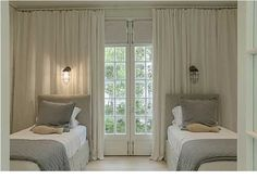 Subtle Tones/Soft Finishes Layer for a Great Guest Room.love the reading lights suspended in a wall of curtains Guest Bedrooms, Room, Beautiful Bedrooms, Home Bedroom, Bedroom Interior, Girl Room, White Rooms, Childrens Bedrooms, Bedroom Layouts