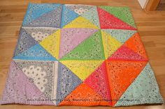 The 9 bandana quilt x I have been quilting for a few days. This will be taught at a JoAnn Fabric and Crafts kids cla. Bandana Quilt, Bandana Crafts, Joanns Fabric And Crafts, Quilt Blocks, Quilt Patterns, Crafts For Kids, Rubber Stamping, Paper Crafts, Crafty