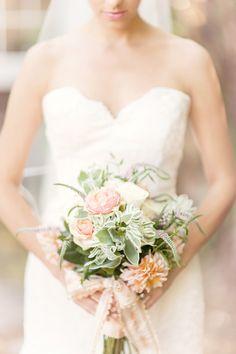 Romantic bouquet: http://www.stylemepretty.com/california-weddings/2015/03/02/romantic-napa-valley-wedding/   Photography: Glass Jar Photography - glassjarphotography.com