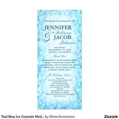 Teal Blue Ice Crystals Wedding Program