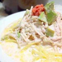 inRedに載っていたスープレシピ スープだけで食べると味が濃くて パスタにしちゃった(・∀・) - 10件のもぐもぐ - アボカドと明太子のミルクスープパスタ by sh1ma