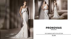 Elsa | one-shoulder, ruffled train wedding gown | Pronovias 2012 Manuel Mota Collection
