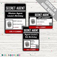Geheim agent ID badges (spion identiteitskaarten) met bewerkbare tekst. De geheim agent ID kaarten komen in drie verschillende maten en in twee versies; met of zonder vingerafdruk. De lege identiteitskaarten (zonder vingerafdrukken) kan worden gebruikt voor de partij van een geheim