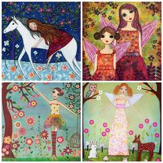 Horses Unicorns and Fairytales Painting Art Print Set Four 5 inch by 5 Inch Prints. $14.99, via Etsy.
