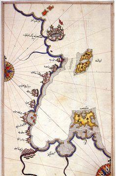 century Ottoman map of the Gulf of Djerba, Tunisia, by Ottoman cartographer Piri Reis. Old Maps, Antique Maps, Piri Reis Map, Republic Of Venice, Knights Hospitaller, Nautical Chart, Science, Ottoman Empire, Historical Maps