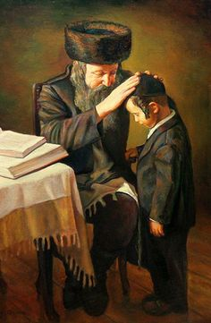 Shabbat Blessing - Boris Dubrov oil on canvas Sized cm. 2008 Father blesses his son on the night of Shabbat Jewish History, Jewish Art, Religious Art, Cultura Judaica, Arte Judaica, Good Shabbos, Les Religions, Blessed, Illustrations
