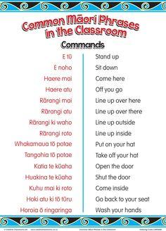Common Maori Classroom Phrases Charts | Maori Posters