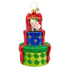 """Christopher Radko Gifts Galore Christmas Ornament - New for 2014 - 4.5""""h. - 1017"""