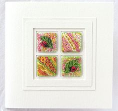 Hand embroidered ladybird card  5.5 inch square handmade