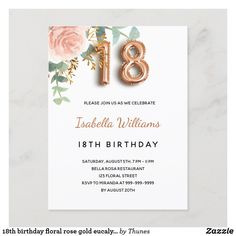 18th birthday floral rose gold eucalyptus greenery invitation postcard 18th Birthday Party, Rsvp, Greenery, Party Supplies, Party Themes, Place Card Holders, Rose Gold, Invitations, Floral