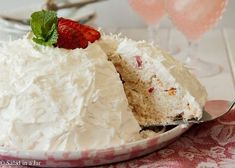 Snowball Cake is a light and summery dessert full of fresh fruit, angel food cake torn into bite-sized pieces and whipped cream