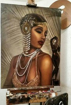 This image is apart of set design. This is an example of some of the Black Renaissance art hanging around Eve's room. African American Art, Native American Indians, African Art, Renaissance Wedding, Renaissance Era, Harlem Renaissance Fashion, Harlem Nights Theme, Black Artwork, Cotton Club