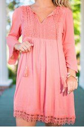 Sweet V-Neck Lace Splicing Long Sleeve Dress For Women