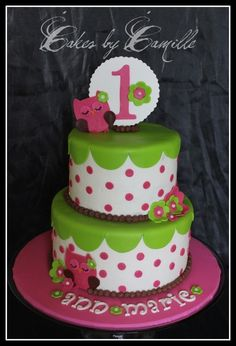 love this bright pink and green owl-inspired cake by Cakes by Camille. Beautiful!! Except for my birthday, they're missing the 2 in front of that 1 @Kari Cawthon