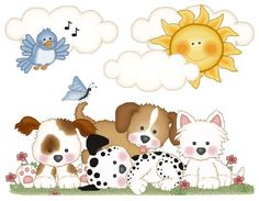 """Puppy Dog Wall Art Mural for baby girl or boy nursery or kids room decor. Measures 24.75"""" Tall and 31.5"""" Wide #decampstudios"""