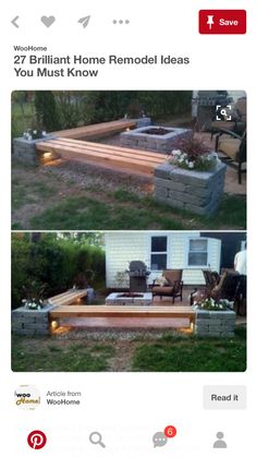DIY Propane Fire Pit U0026 Corner Benches With Landscape Lighting And Pillars  With Planters (Diy Decoracion Exterior)