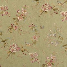 Sprigs of apple blossom and bell-shaped penstemon with birds and butterflies in four colourways Suitable for curtains blinds soft furnishings and