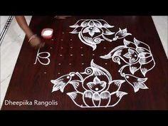 Sankranthi muggulu 2019 lotus rangoli with dots * pongal kolams * latest rangoli designs Rangoli Designs Peacock, Rangoli Designs Latest, Rangoli Designs With Dots, Rangoli Designs Images, Rangoli With Dots, Beautiful Rangoli Designs, Simple Rangoli, Art Designs, Rangoli Borders
