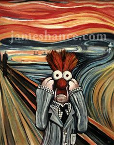 The Scream by Edvard Munch. The famous painting given a new twist with Beaker from The Muppets. Pop Art, Scream Parody, Les Muppets, Beaker Muppets, Le Cri, The Muppet Show, Edvard Munch, Arte Popular, Cultura Pop