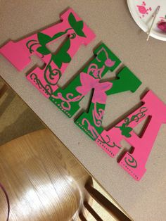 Alpha Kappa Alpha Sorority Inc. Letters. I made for my sister!