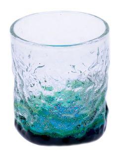 Shiosai Dekoboko Glass Sky Blue/Green (d75 x h85mm) mfr. Ryukyu Glass Craft