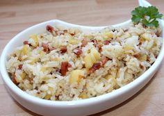 Almás-baconös rizs Potato Salad, Bacon, Grains, Paleo, Food And Drink, Healthy Recipes, Healthy Food, Rice, Potatoes