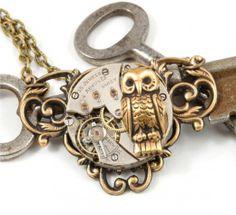 Steam Punk Owl Vintage Watch Ant Brass