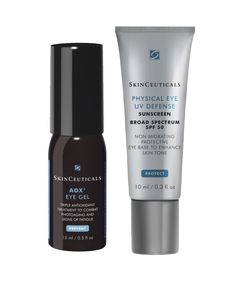 SkinCeuticals Physical Eye UV Defense.  AOX Eye Gel.  Physical Eye UV Defense  ($37 individually) 100% mineral base, broad spectrum UVA/UVB protection. Non-migrating formula prevents irritation of the eye. Sheer, universal tint suitable for all skin types, unifies natural skin tone around the eye. Proven safe for use from the brow bone to the cheek bone, even on the eye lid. Nourishes thin, delicate skin around the eye. #eyes #besteyecreams Eye Base, Eye Wrinkle, Broad Spectrum Sunscreen, Eye Creams, Eye Gel, Eye Serum, Skin Tone, Natural Skin, Physics