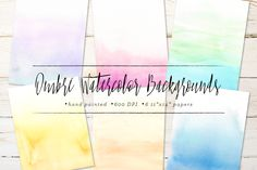 Ombre Watercolor Backgrounds by Sugar and Ink on @creativemarket